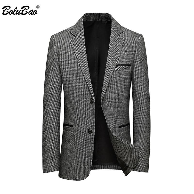 BOLUBAO New Men Solid Color Blazers Fashion Brand Men's Luxurious Business Suits Winter Woolen Casual Blazer Coats Male