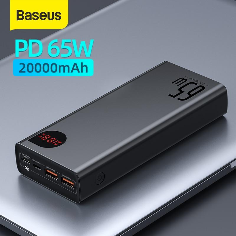 Baseus 22,5 W/ 65W Мощность банка 20000 мА/ч, Портативный быстрой зарядки Мощность банк Тип C PD быстрый заряд повербанк внешний Батарея Зарядное устрой...