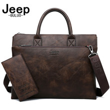 JEEP BULUO High Quality Men Briefcases Bag For 14 inch Laptop Business Travel Bags Handbags Leather Office Shoulder Bags For Man