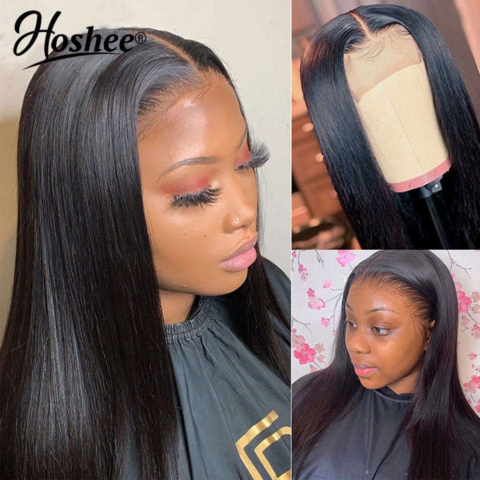 Straight Human Hair Wigs For Black Women 150 Density Lace Front Human Hair Wigs Pre Plucked Peruvian Remy Hair Bleached Knots