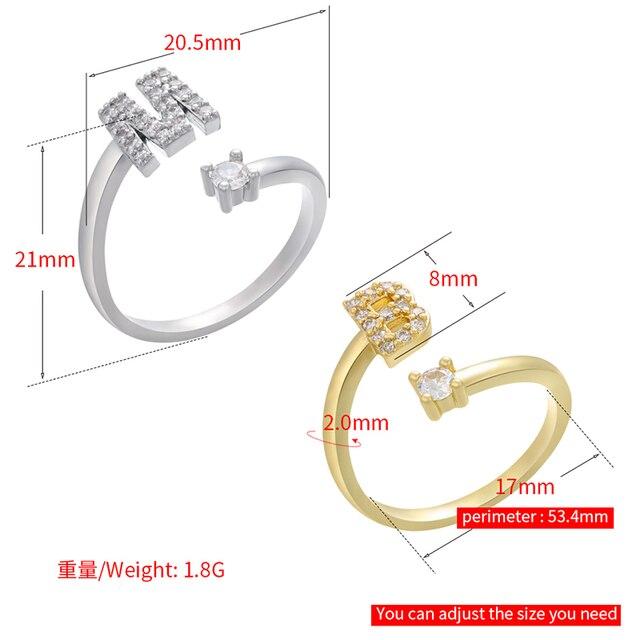 ZHUKOU or/argent couleur lettre anneaux CZ cristal 26 alphabet initiales anneau pour les femmes réglable ouvert anneau bijoux en gros VJ59