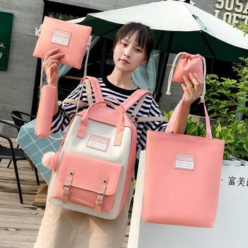 5Piece Set Nylon Backpack Waterproof Women 5pcs Fashion Female School Casual Bags Student Shoulder Bag
