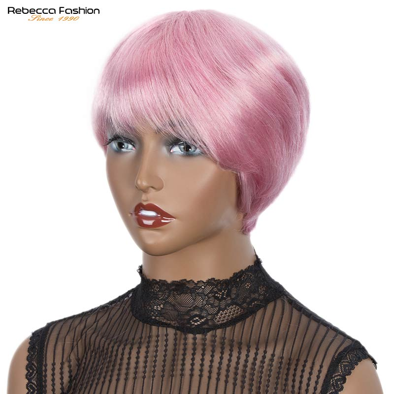 Rebecca Short Cut Straight Hair Wig Peruvian Remy Human Hair Full Wigs For Black Women Pink Gray Color Cheap Hair With Bangs Wig