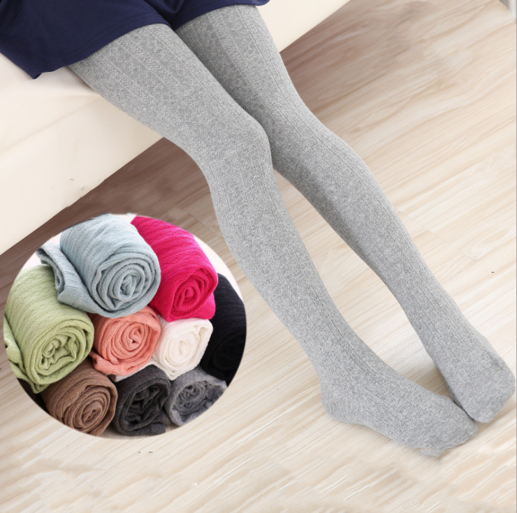 VEENIBEAR Warm Spring Cotton Girl Tights Solid Color Knitted Tights Kids Children Pantyhose Baby Stockings 3-10 T