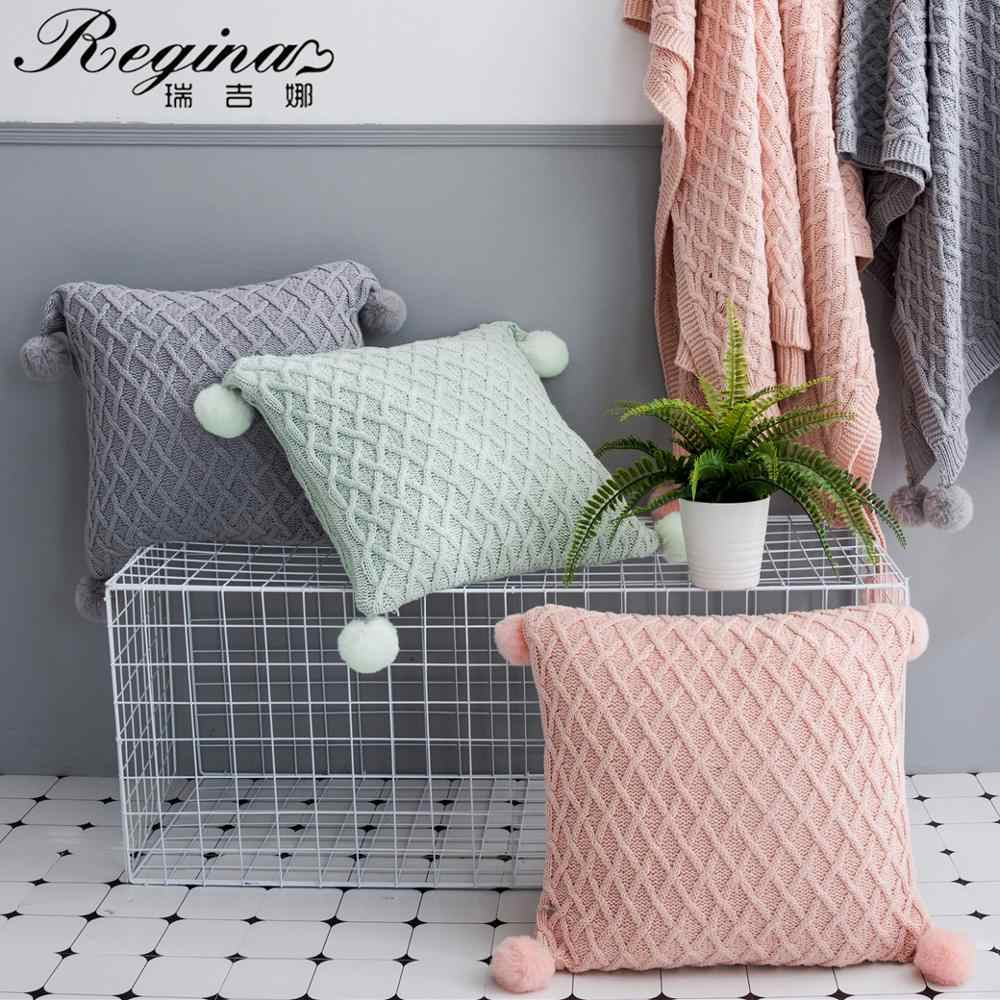 regina cotton pillow cover sweet hang ball pink light green gray plaid cushion cover home decor cute couch car bed pillow case