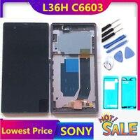 ORIGINAL Display Für SONY Xperia Z LCD Touch Screen Digitizer Mit Rahmen Für SONY Xperia Z LCD L36H C6603 C6602-in Handy-LCDs aus Handys & Telekommunikation bei