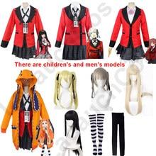 Lacauch-Disfraz de Cosplay de Anime Kakegurui Runa Yomozuki, Jabami Yumeko con capucha naranja con orejas, utillaje de póker