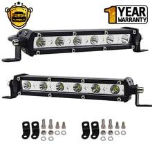 купить 2x 7inch 6 30W Single Row Flood Beam LED Work Light Bar 2PCS Ultra Slim Driving Lights Fog Lamps for Truck Offroad ATV SUV Boat дешево