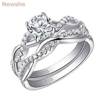 Newshe 2 Pcs 925 Sterling Silver Twist Cross Rings Wedding Engagement Ring Sets For Women AAA Zircon Jewelry QR7628