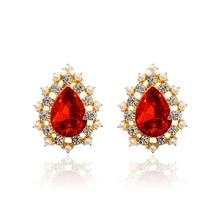 DREJEW Luxury Red Rhinestone Water Drop Statement Earrings 925 Custom Crystal Stud Earrings Sets for Women Wedding Jewelry E2261 цена и фото
