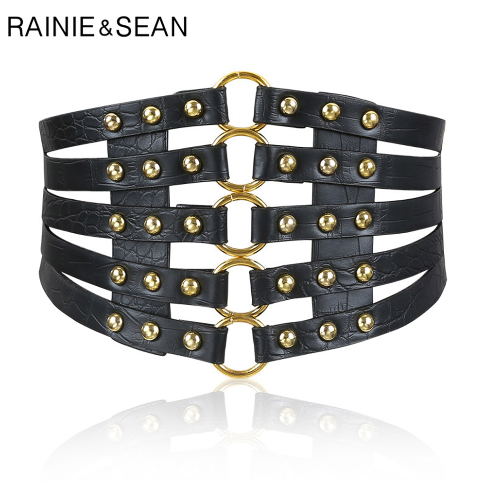 RAINIE SEAN Women Belts Cummerbunds Black Punk Wide Belts For Dresses Rivet Belt Designer Brand Leather Ladies Waist Belt