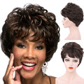 DANBO Золотой коричневый разноцветный парик Африканский черный женский короткий боб парик повседневная одежда