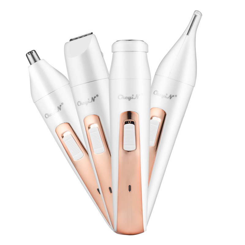 4 In 1 USB Rechargeble Hair Remover Women Eyebrow Trimmer Stainless Steel Blade Nose Hair Trimmer Clipper Shaver Limit Combs