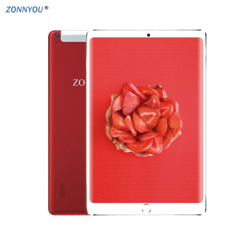 Nouveau système 10.1 pouces tablette PC 4G/3G appel téléphonique 6 GB/128 GB Octa Core Android 8.0 Wi-Fi Bluetooth double SIM tablette 2.5D écran en acier