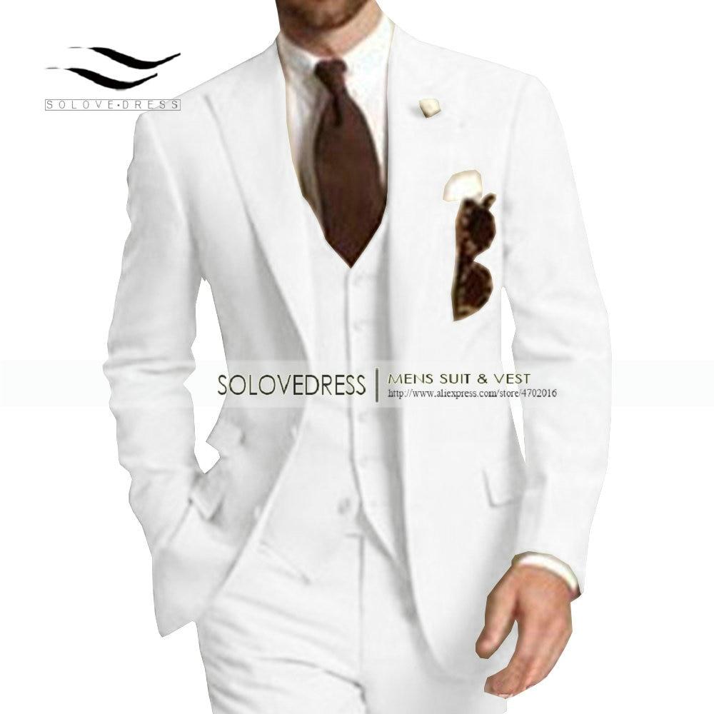 Men's Suit Formal Business Suits 3 Pieces Notch Lapel Solid Tuxedos Best Man For Wedding Groomsmen (Blazer+vest+Pants) Beige New - 3