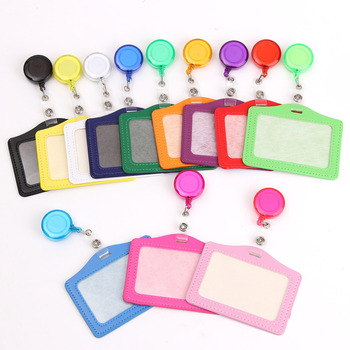 Credit Card Holders With Retractable Badge Reels Clip Name Badge Office School Supplies Identity Badge Protective Card Cover 1