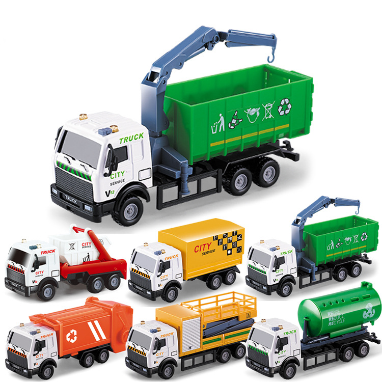 1:64 Mini Toy Car Model Alloy Garbage Truck Sprinkler Rescue Vehicle Engineering Green Car Model Display Stand Children's Gifts