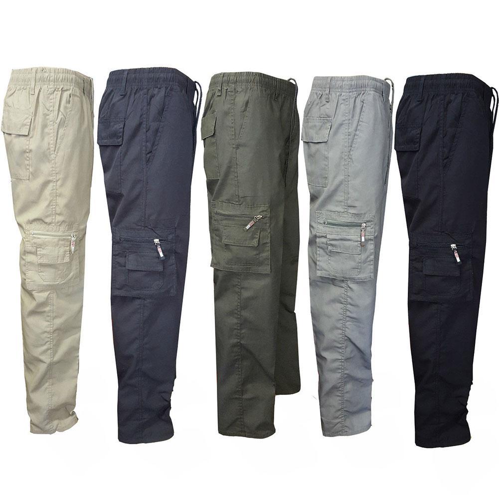 Men Elasticated Casual Multi-Pocket Zipper Long Sport Sweatpants Work Pants