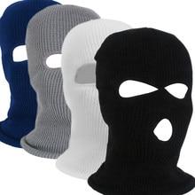 1PC hiver tricot casquette chaud doux 2/3 trous plein visage Ski chapeau cagoule moto casque armée tactique chapeau mode femmes hommes