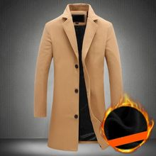 Winter Thick Fleece Lining Mens Medium Length Woolen Coats Long Plus Size Long Sleeve Single Breasted Lapel Slim Fit Solid Coats(China)