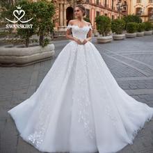 Свадебное платье со шнуровкой и открытыми плечами с аппликацией из Бисера Кружевное бальное платье с цветочным принтом, платье для невесты GI10, платье принцессы, Robe de mariee