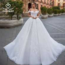 Off Shoulder Lace up Wedding Dress Beaded Appliques Lace Ball Gown Flowers Swanskirt GI10 Bridal Gown Princess Robe de mariee