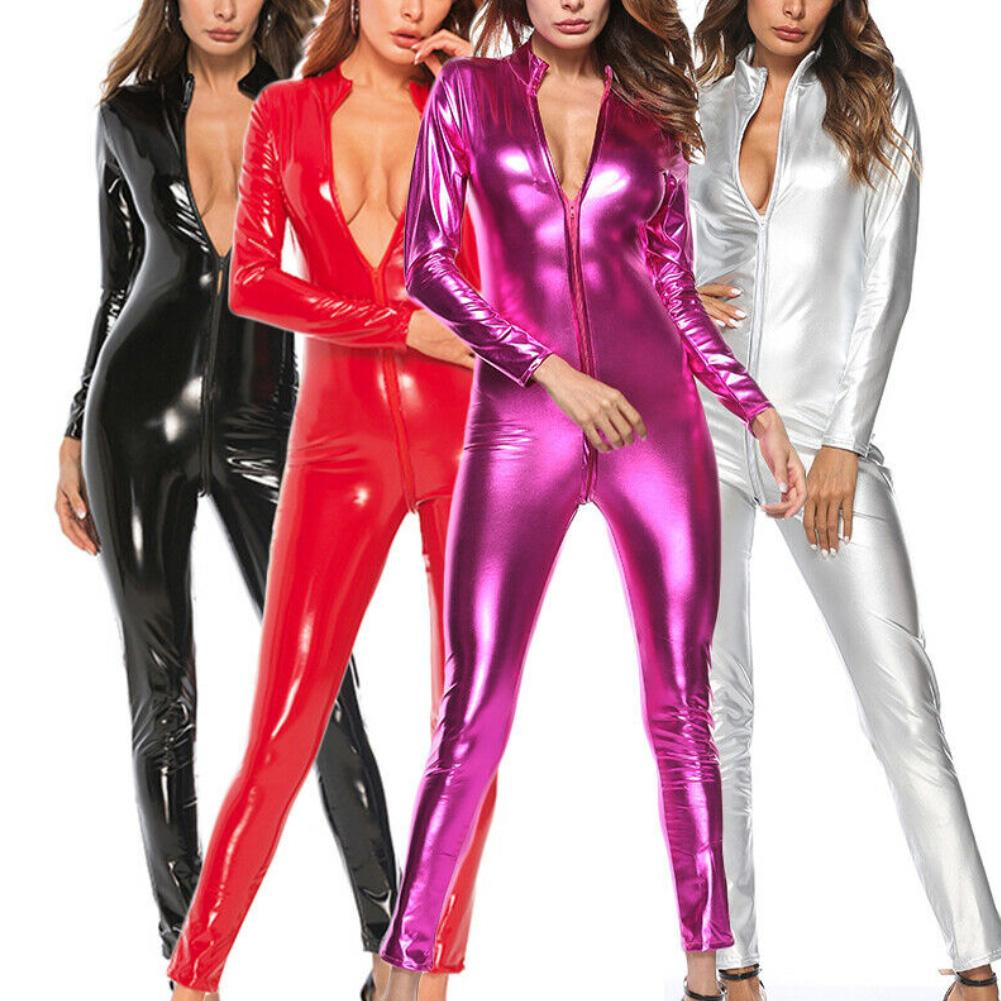 Women Solid Color Zipper Faux Patent Leather Jumpsuit Bodysuit Tight Clubwear