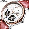 GUANQIN Tourbillon часы Двойные Мужские автоматические механические часы водонепроницаемые спортивные брендовые роскошные часы Relogio Masculino