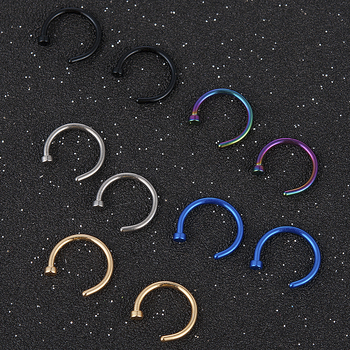 2020 NEW 2pcs Hot Stainless Steel Nose Open Hoop Ring Earring Body Piercing Jewelry 4Color Black Gold Nose Rings nose stud