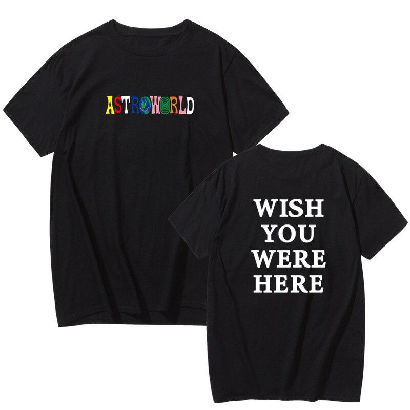 Hot Selling 2019 New Fashion Hip Hop T Shirt Men Women Travis Scotts ASTROWORLD Harajuku T-Shirts WISH YOU WERE HERE Letter Tops