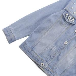 Image 4 - ילדים בנות בגדי סט פרל קישוט מעיל + ג ינס 2PCS ילדה סט בגדים מזדמן סגנון בגדי ילדים עבור בנות 6 8 10 12