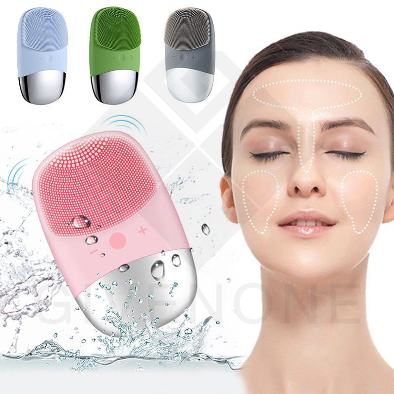 USB Electric Facial Cleansing Brush Skin Massager Silicone Sonic Vibration Face Cleaner Deep Pore Cleaning Face Cleansing Brush