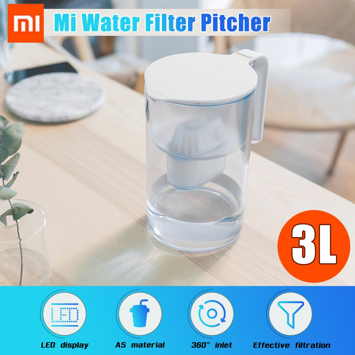Global Version XIAOMI 3L Water Filter Jug Kettle Activated Carbon Pitcher Filtration Dispenser Cup Home Water Purifier