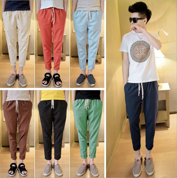 Summer Wear Men Capri Pants Korean-style Slim Fit Casual Flax Skinny Pants Fashion Man With Drawstring Closed Lapel Men's Trouse