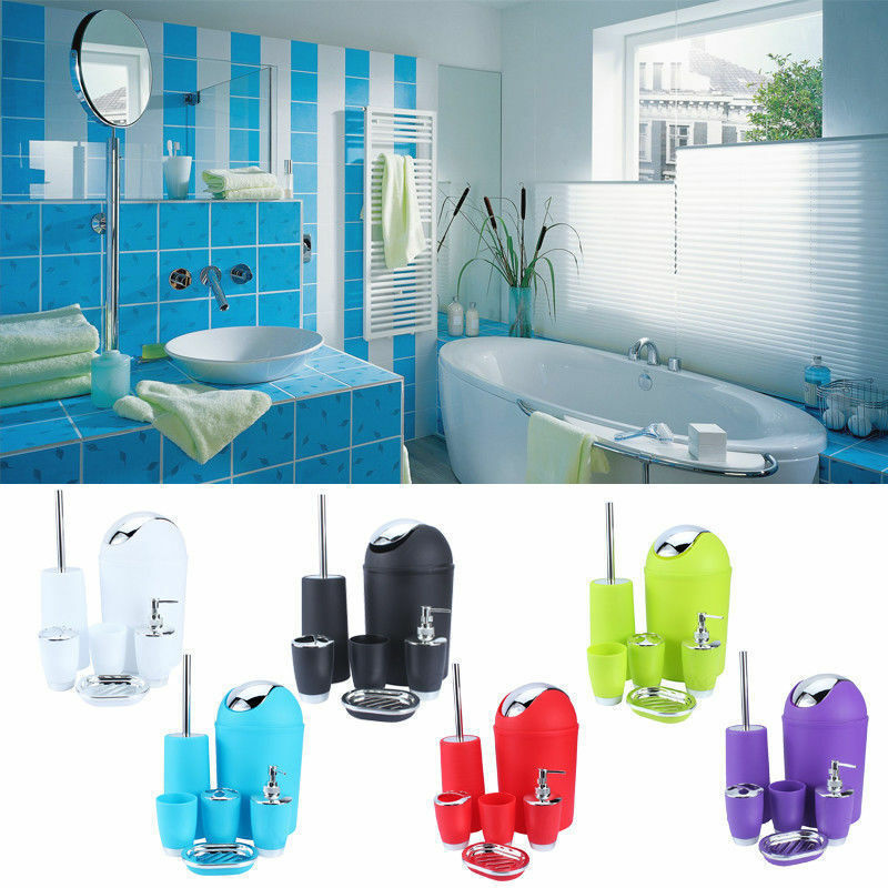 6Pcs/Set Plastic Bathroom Suit Bath Accessories Cup Toothbrush Holder Soap Dish Sanitary Ware Suite