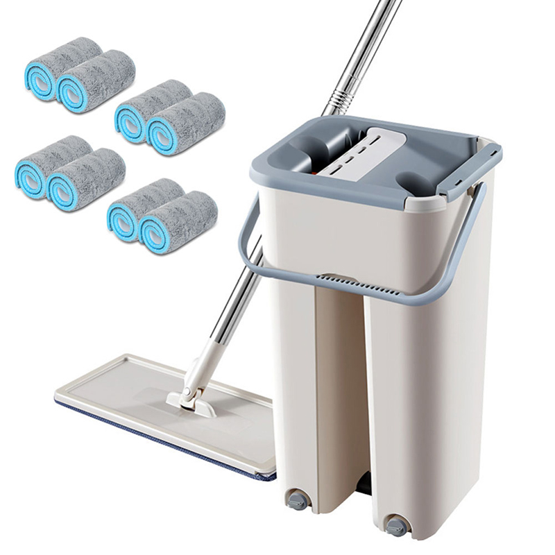 Magic automatic mop and bucket avoid hand washing microfiber cleaning cloth mop washing floor home kitchen floor cleaning tool