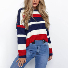 Sweaters Women Winter 2019 Jumpers Knitted Clothes Fashion Striped Oversized Pullover Female Sale