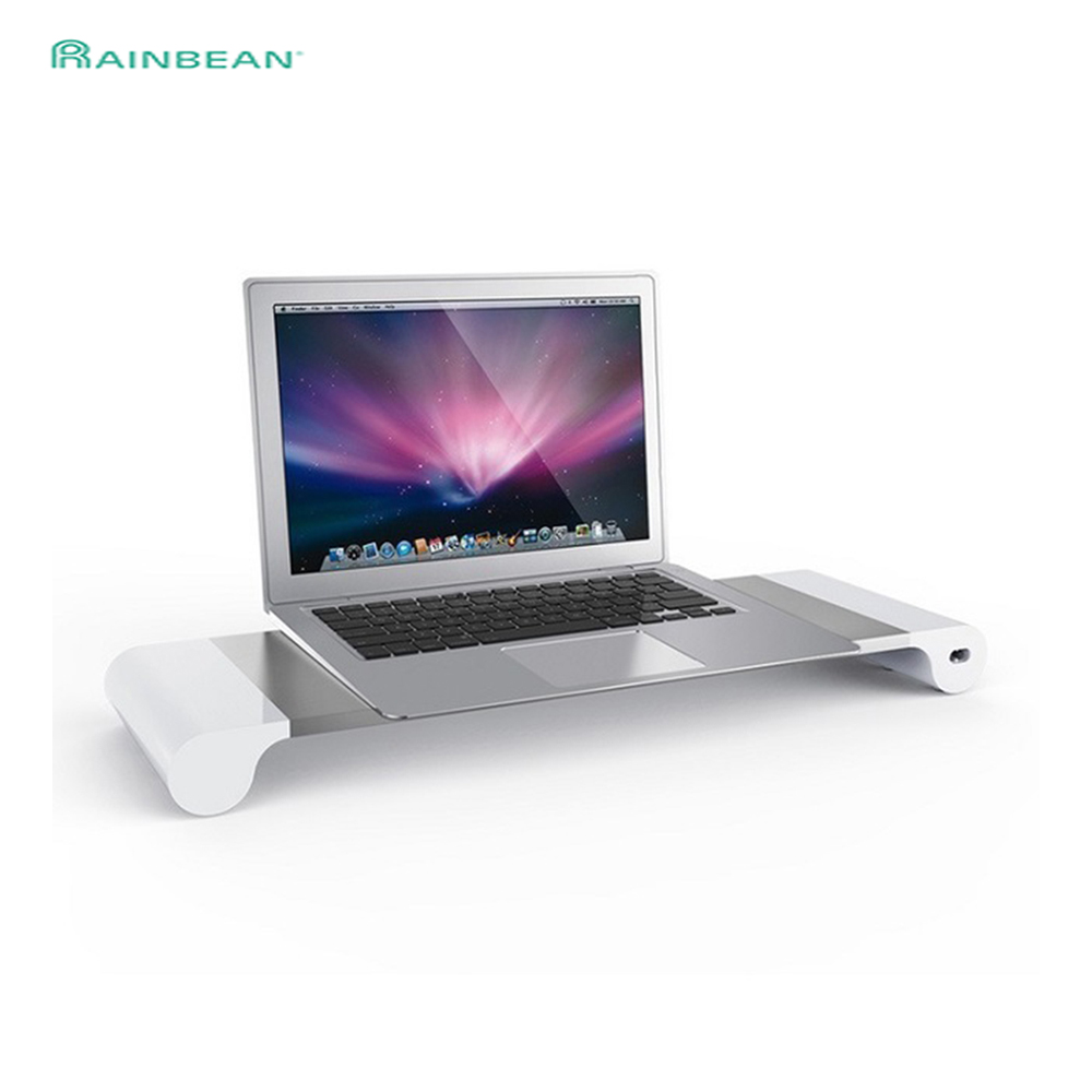Laptop Monitor Desktop Stand Space Bar Dock Desk Riser With 4 USB Ports For IMac MacBook Computer PC TV Below 20Inch