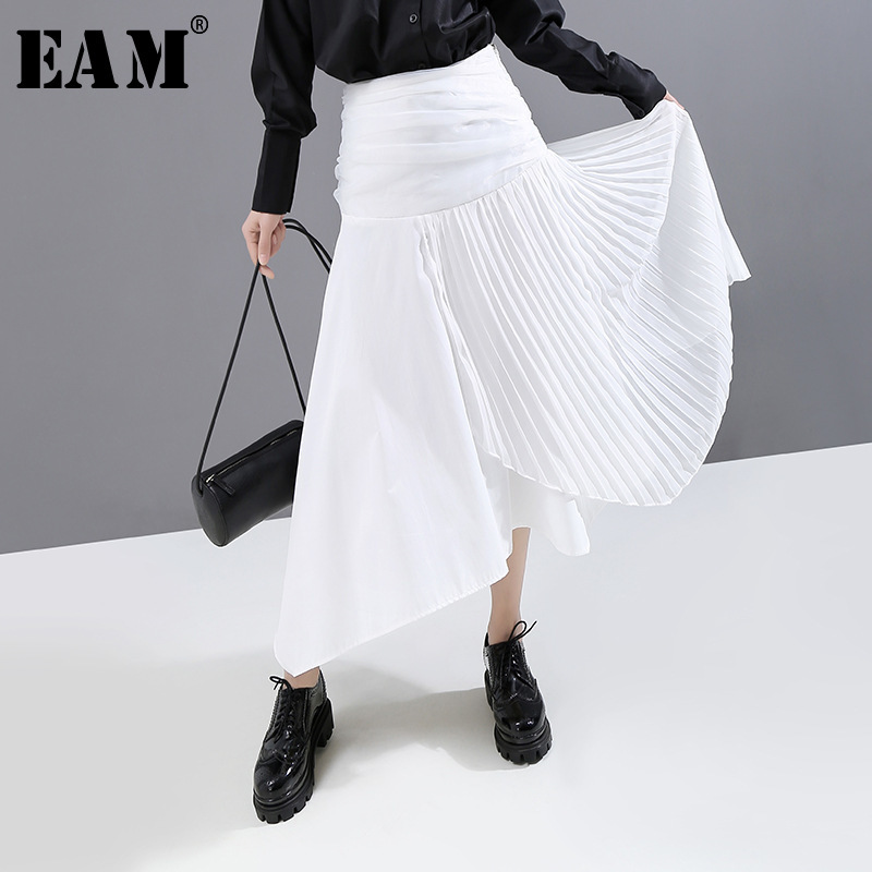 [EAM] High Elastic Waist White Pleated Asymmetrical Temperament Half-body Skirt Women Fashion Tide New Spring Autumn 2020 1N821