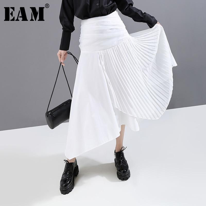 [EAM] High Elastic Waist White Pleated Asymmetrical Temperament Half-body Skirt Women Fashion Tide New Spring Autumn 2020 1N821
