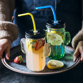 2PCS 450ml Creative Cactus Glass Mason Jar Mug with Lid and Straw Cold Drink Smoothie Cup Water Glass Cup Kitchen Drinkware