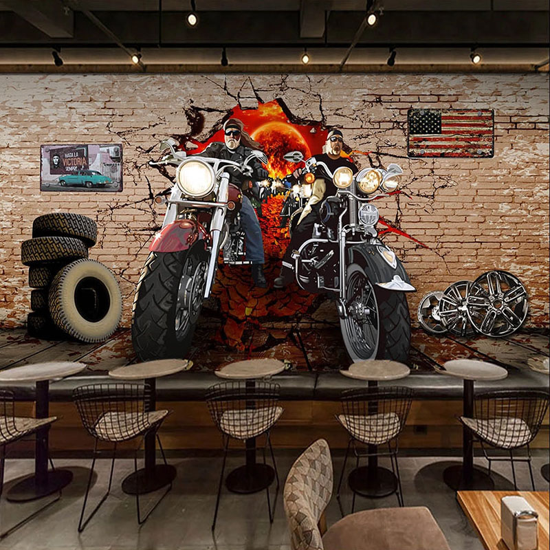 Custom 3D Wallpaper Retro Motorcycle Nostalgic Brick Wall Murals Restaurant Cafe Background Wall Decor European Style Wallpapers