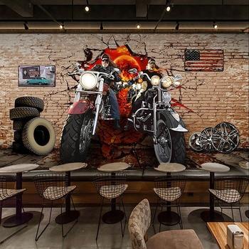 Custom 3D Wallpaper Retro Motorcycle Nostalgic Brick Wall Murals Restaurant Cafe Background Decor European Style Wallpapers