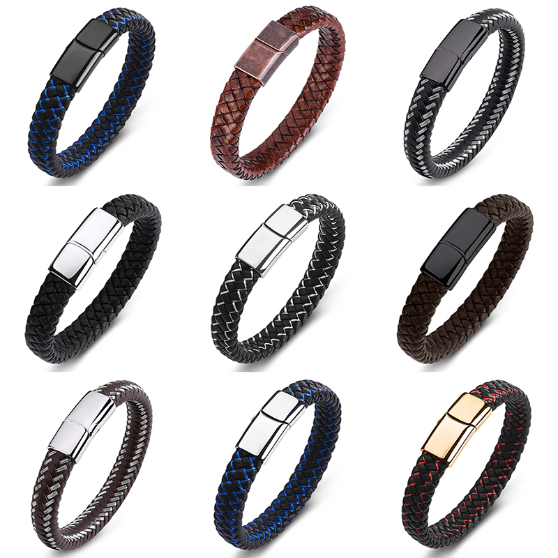 Bracelet Men Fashion Jewelry Braided Leather Handmade Trendy Stainless Steel Clasp Punk Male Wrist Band
