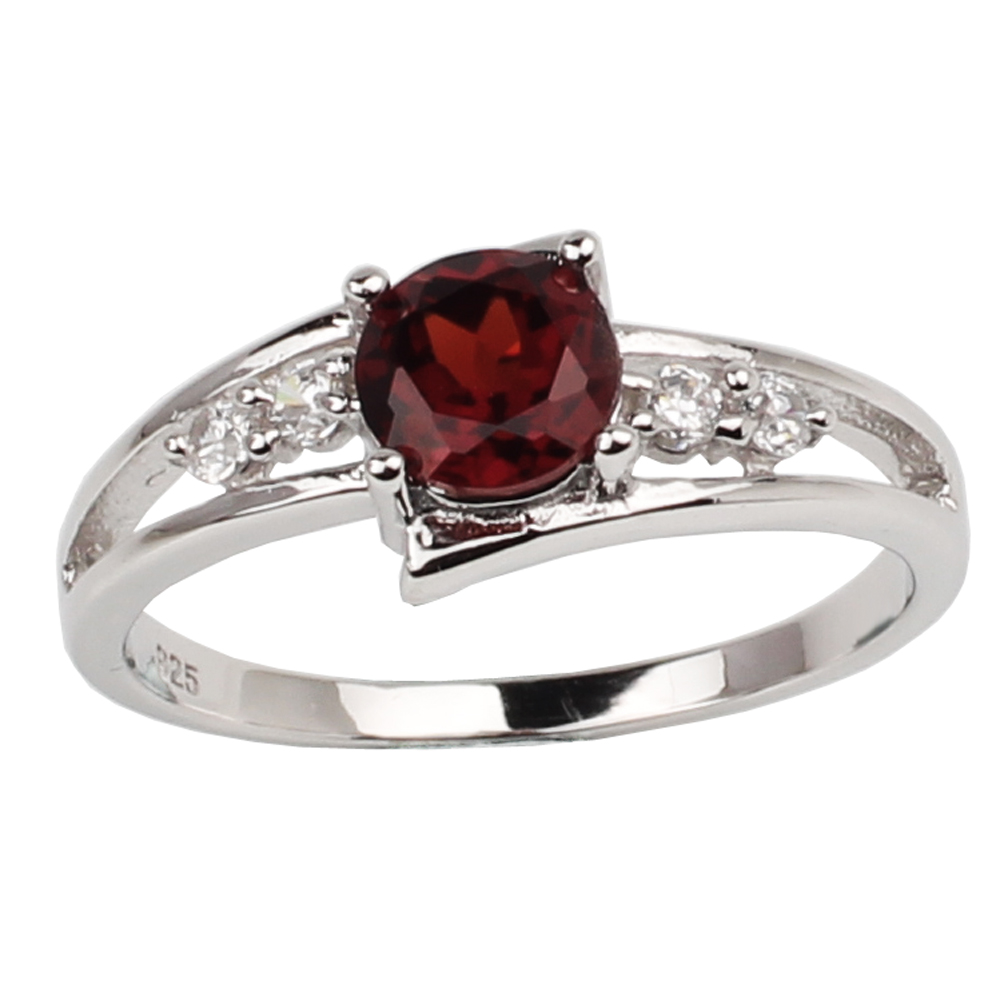 Wedding-Ring Jewelry Stone Sterling-Silver 925-Red-Garnet Sign 6mm Women R016RGN Capricorn