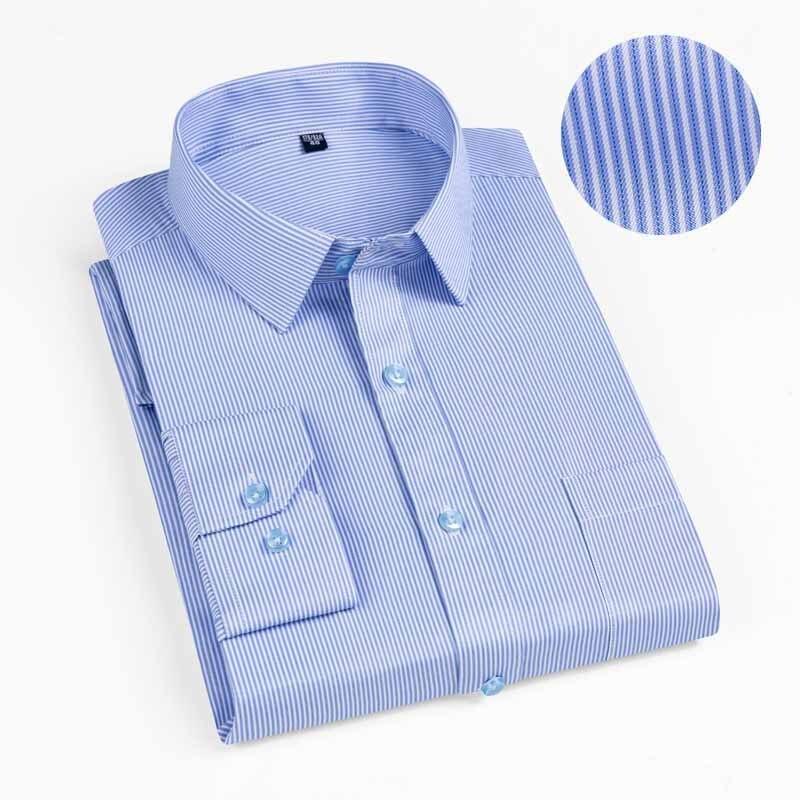 New 2019 Autumn Men Shirt Plus Size Slim Fit 45% Cotton Plaid Men Dress Shirts Regular Long Sleeve Men's Business Casual Shirt 10