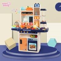 Infant Shining Kids Kitchen Toys 65pcs Pretend Play Simulation Kitchen Children's Cooking Toys 2 4 Years Kitchen Toys Set
