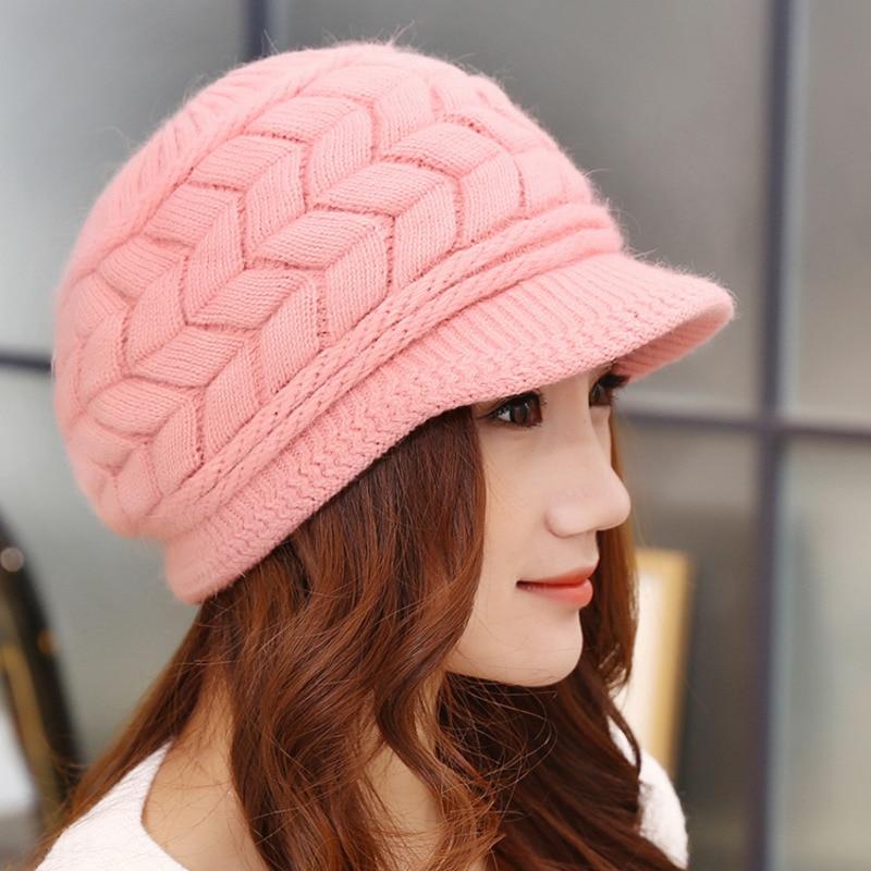 Women's Winter Warm Leaf Pattern Knitted Peaked Cap With Visor Lady Stylish Rabbit Fur Hat Female Fleece Inside Snow Ski Hats