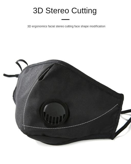 2020 Five-layer Mouth Mask Breath Valve Маска Mascherine Filtration PM2.5 Face Masks Masque Dust Mascaras Respirator Maska 3