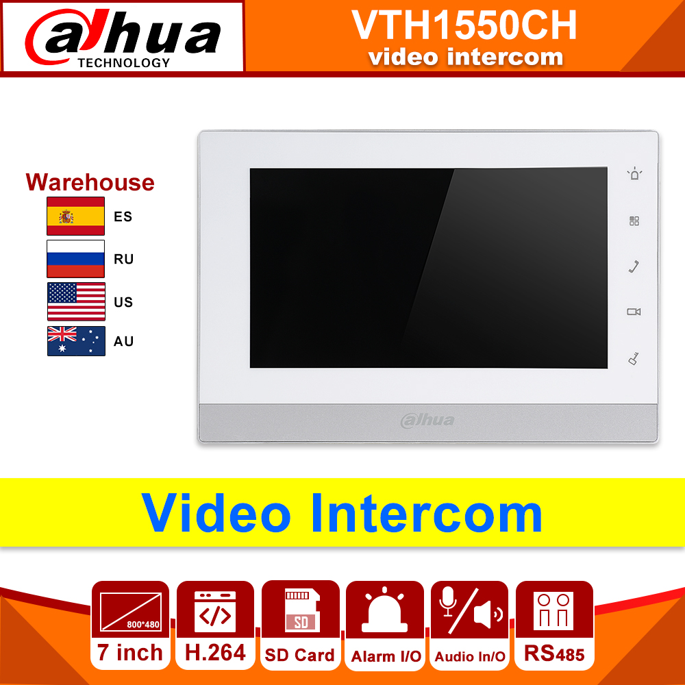 Original Dahua Video Intercom Ip Original VTH1550CH Indoor Monitor 7-inch 800*480 H.264 Resilution Touch Screen Color SD Card
